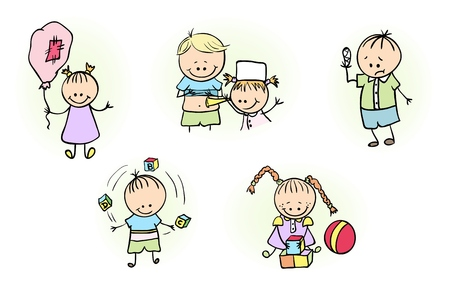 playmates: Illustration of Kids Playing Isolated Illustration