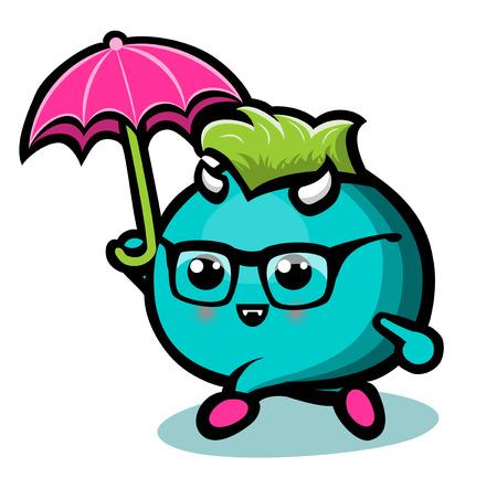 Blue Monster With Umbrella Under Rain Isolated Illustration