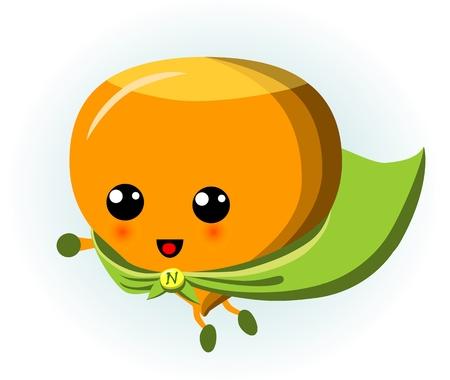 Cute Hazelnut Superhero Cartoon Isolated Illustration Illustration