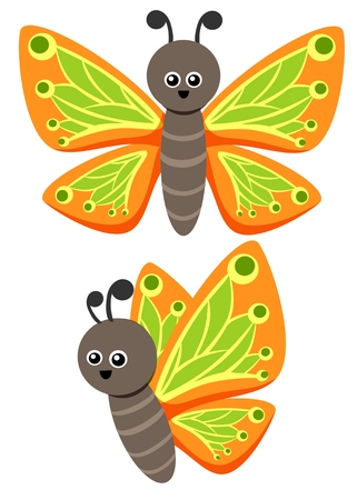 Butterfly illustration as a funny character. Cute small insect with beautiful wings. Small cartoon creature, isolated object in flat design on white background.