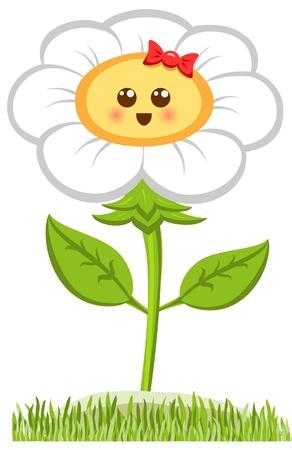 Cartoon Smiling flower, happy daisy isolated on white.