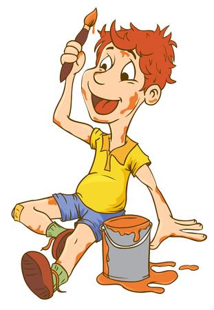 L'illustrazione del ragazzo del bambino che porta una grande arte di vettore ha isolato l'illustrazione