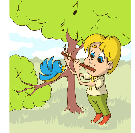 Happy boy playing on flute on a glade. Flat design.