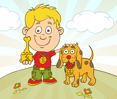 dog walking: Character Boy With Dog on Pet Show Competition. Dog Winning The Prize on Pet Show. Illustration