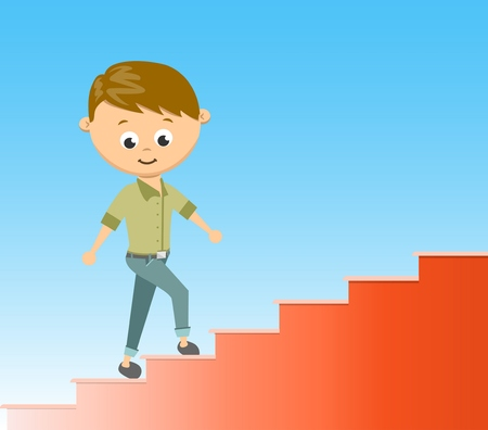 stairway: Flat style vector illustration stairway to success in career concept.