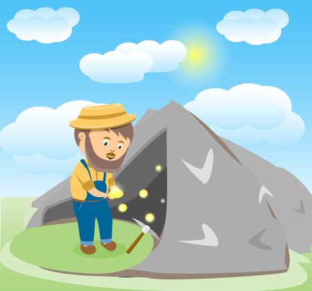 prospector: Imagen vectorial de un oro de dibujos animados feliz Digger