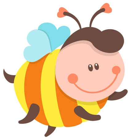 pollinate: Cute Bee Cartoon Flying. Vector Isolated Illustration Illustration
