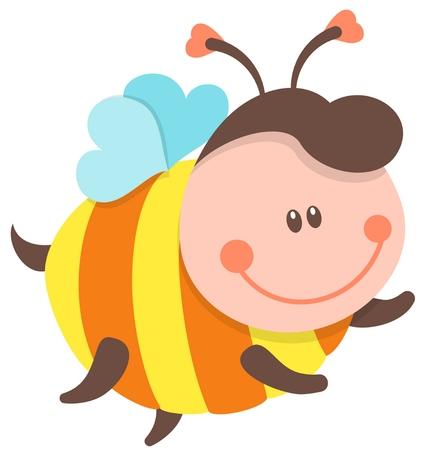 Cute Bee Cartoon Flying. Vector Isolated Illustration Illustration