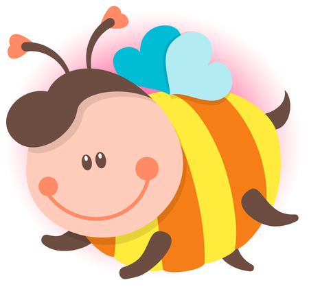 Cute Bee Cartoon Flying. Vector Isolated Illustration Vectores