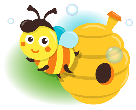 Isolated Illustration Bee And Beehive
