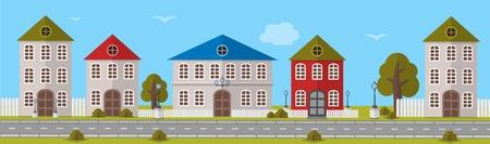 다양한 크기와 디자인의 다양한 색상의 건물. 벡터 일러스트 레이 션
