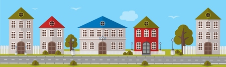 Various Multi-Colored Buildings in different sizes and designs. Vector illustration