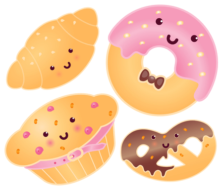 Set Of Cute Sweets. Croissant, Donut, Pretzel, Cupcake.