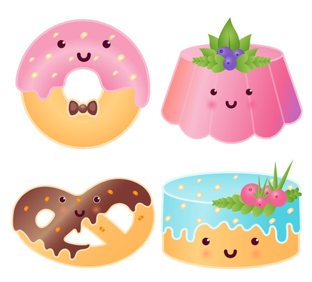 Set Of Cute Sweets. Jelly Pudding, Donut, Pretzel, Cupcake. Illustration