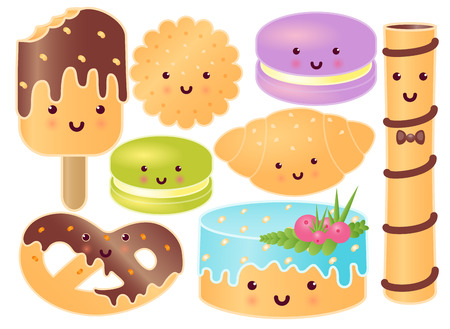 Set Of Cute Sweets. Croissant, Pretzel, Cupcake, Icecream, Macaroons, Sweet Steak, Cookie.