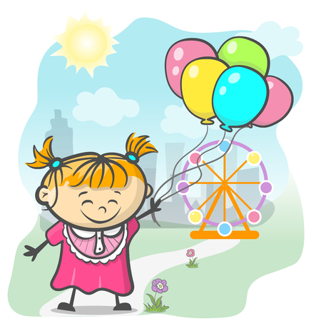 Cute Girl With Ballons. Vector Isolated Illustration Vetores