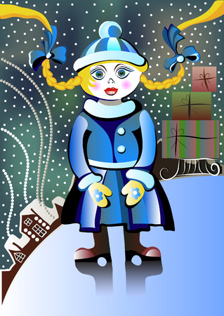 winter girl: Winter girl with gifts
