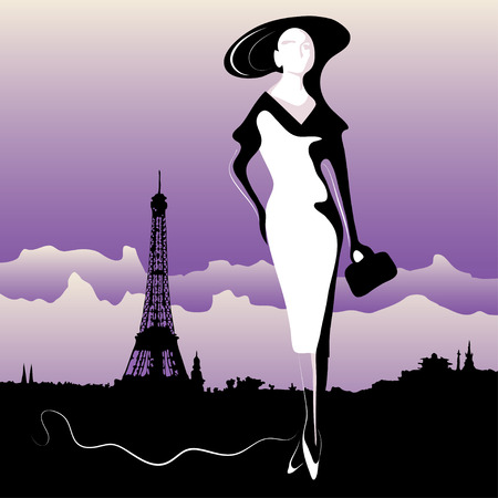 frenchwoman: Abstract woman in Paris (poster or card) Illustration