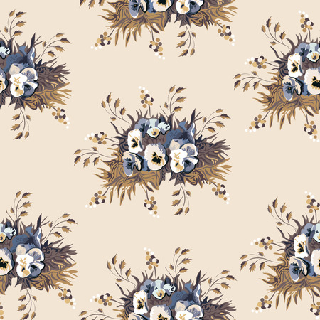 pansy: Seamless floral pattern with pansy Illustration