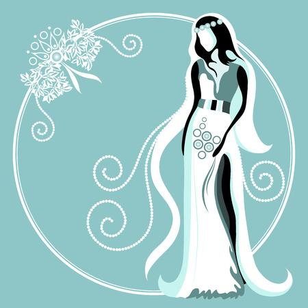 Wedding card with abstract bride Vector