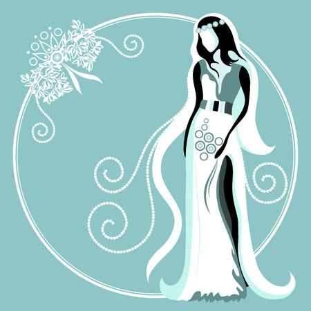 felicitation: Wedding card with abstract bride Illustration