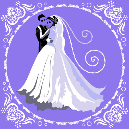 felicitation: Wedding card with abstract couple