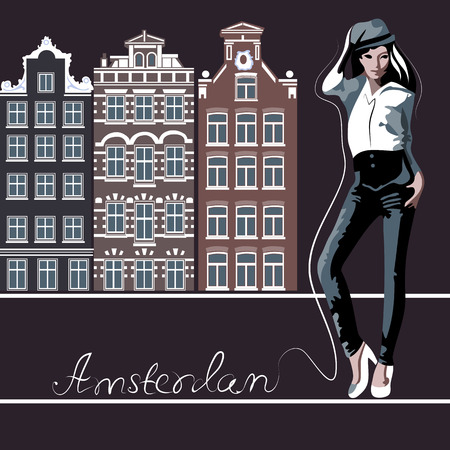 netherlandish: Abstract woman in Amsterdam (poster or card)