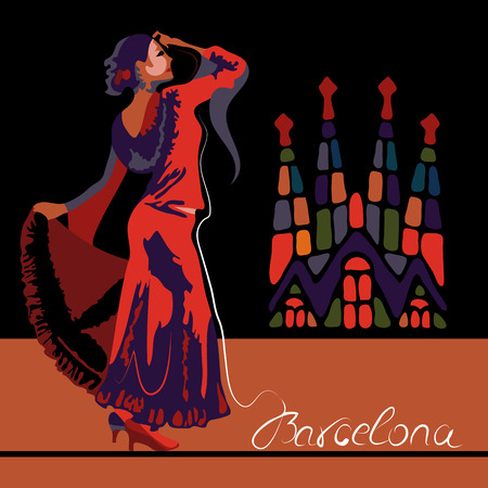 flamenco dress: Abstract woman dancer in Spain in Barcelona (poster or card)