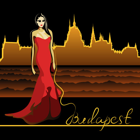 magyar: Abstract woman in Budapest on the Danube (poster or card)