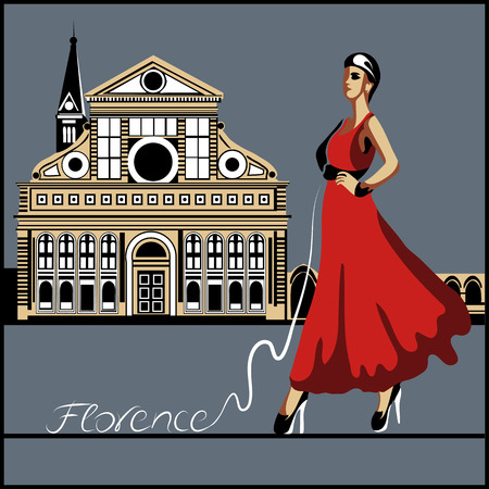 florence: Abstract woman in Florence (poster or card)