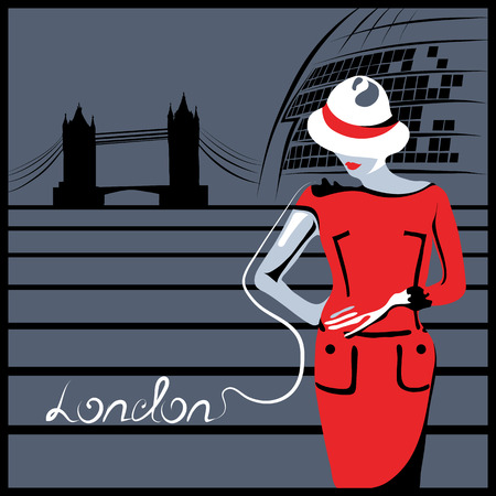 tower bridge: Abstract woman in London near Tower Bridge and City hall (poster or card)