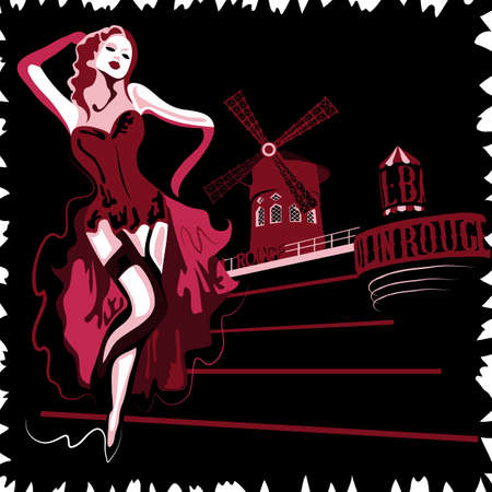 moulin: French abstract woman in cabaret Moulin Rouge in Paris (poster or card)