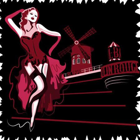 cabaret stage: Mujer franc�s resumen en el cabaret Moulin Rouge en Par�s (cartel o tarjeta)