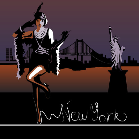 hudson river: Abstract woman in New York against the backdrop of the Statue of Liberty and the Hudson River (card or poster) Illustration