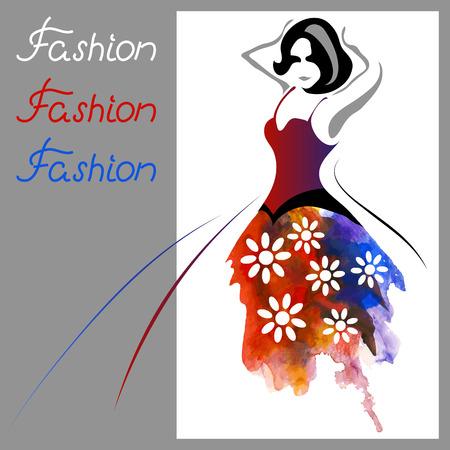 美しい水彩画の女性。ファッション背景 (ポスターやカード)  イラスト・ベクター素材