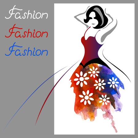 Beautiful watercolor woman. Fashion background (poster or card)