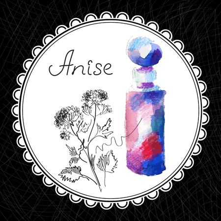 aromatic: Health and Nature Collection. Aromatic anise oil (watercolor and graphic illustration)