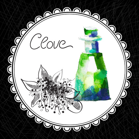 aromatic: Health and Nature Collection. Aromatic clove oil (watercolor and graphic illustration)