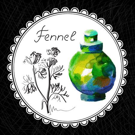 aromatique: Sant� et Nature Collection. Huile aromatique de fenouil (aquarelle et illustration graphique)