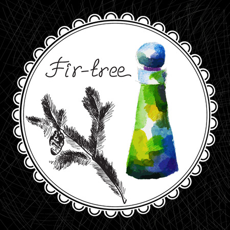 aromatic: Health and Nature Collection. Aromatic fir-tree oil (watercolor and graphic illustration)