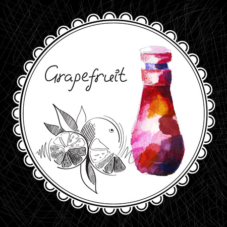 Health and Nature Collection. Aromatic grapefruit oil (watercolor and graphic illustration) Illustration