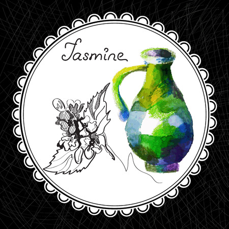 aromatic: Health and Nature Collection. Aromatic jasmine oil (watercolor and graphic illustration) Illustration