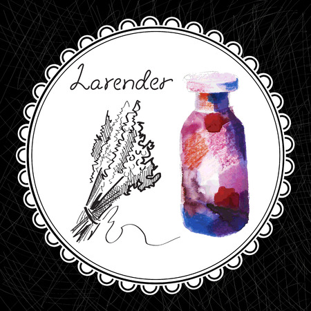 aromatic: Health and Nature Collection. Aromatic lavender oil (watercolor and graphic illustration)