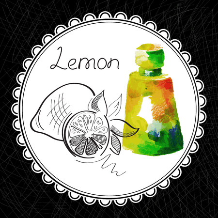 aromatic: Health and Nature Collection. Aromatic lemon oil (watercolor and graphic illustration)