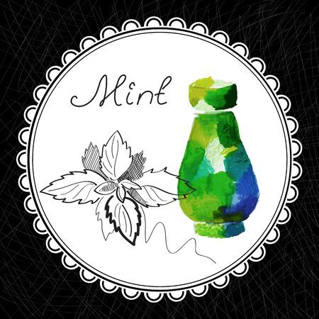 健康と自然のコレクション。芳香族ミント油 (水彩画、グラフィック イラスト)
