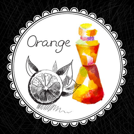 健康と自然のコレクション。オレンジ アロマオイル (水彩画、グラフィック イラスト)  イラスト・ベクター素材