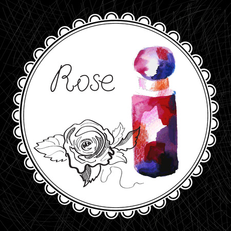Health and Nature Collection. Aromatic rose oil (watercolor and graphic illustration)