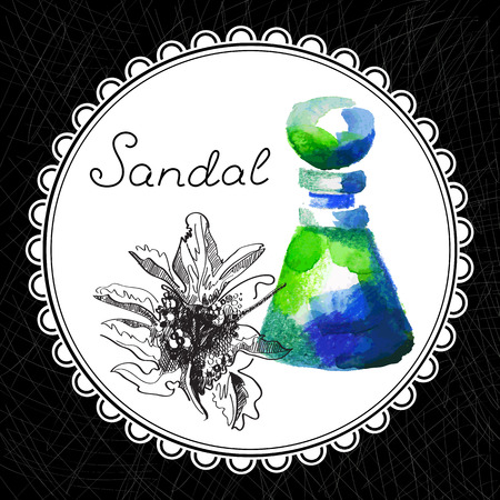 aromatic: Health and Nature Collection. Aromatic sandal oil (watercolor and graphic illustration)