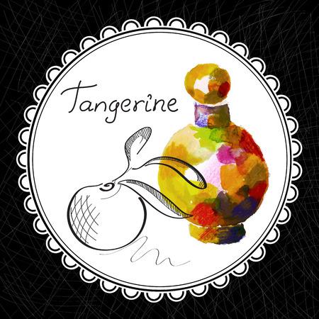 aromatique: Sant� et Nature Collection. Huile aromatique de mandarine (aquarelle et illustration graphique)