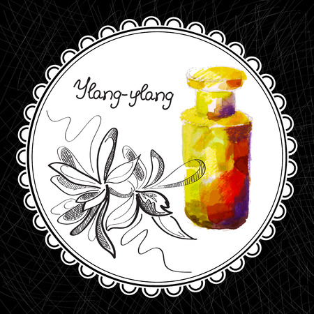 aromatic: Health and Nature Collection. Aromatic ylang-ylang oil (watercolor and graphic illustration) Illustration